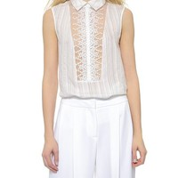 Yigal Azrouel Lace Front Striped Top