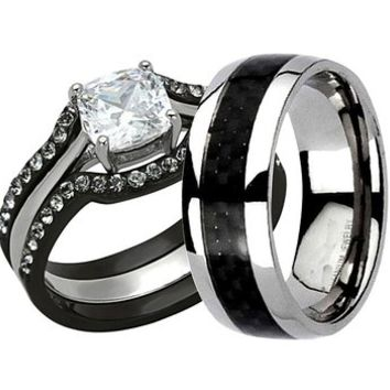 Black Stainless Steel Titanium Cushion Cut Cubic Zirconia His And Hers Wedding Ring Sets 4 pcs SPJ LV