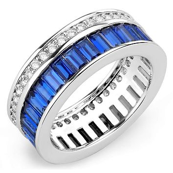 Right Hand Ring 3W1568 Rhodium Brass Ring with Synthetic in London Blue