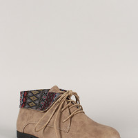 Korsa-02 Tribal Collar Round Toe Lace Up Bootie