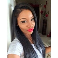 "Sunwell Virgin Human Hair Light Yaki Straight Lace Front Wig for Black Women 10""-24"" (14, Natural Color)"