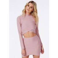 Missguided - Bandage Wrap Over Crop Top Mauve