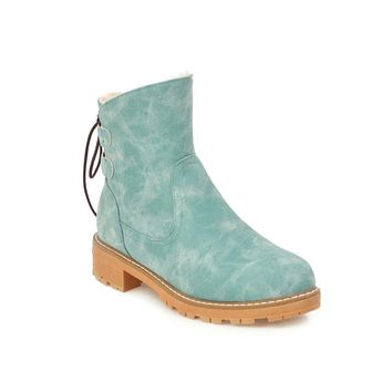 Women's Large Size Low Heeled Short Boots