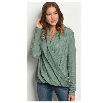 BLACK FRIDAY SPECIAL! Adorable Green Surplice Top