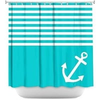 DiaNoche Designs Shower Curtains Stylish, Decorative, Unique, Cool, Fun, Funky Bathroom - Teal Love Anchor Nautical