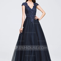 [US$ 187.89] Ball-Gown V-neck Floor-Length Tulle Prom Dress With Beading Appliques Lace - JJsHouse