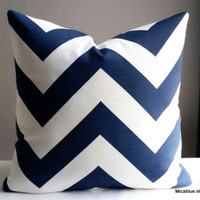 Navy and white chevron pillow cover, all sizes available