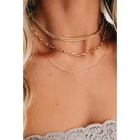 Happy As Can Be Layered Necklace (Gold)