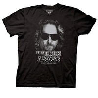 The Big Lebowski The Dude Abides Pixelated Licensed Adult T-Shirts - Blk/Blue