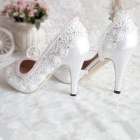 New arrive High heel  white lace-up Bridal shoes women Pumps ankle strap Peep Toe fish mouth Girl's plus size Party Pumps