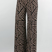 Geo print fold over waist relaxed fit wide leg jersey palazzo pants