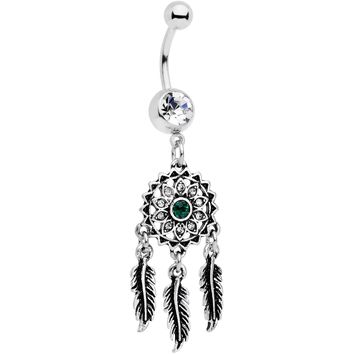 Clear Green Gem Floral Dreamcatcher Dangle Belly Ring