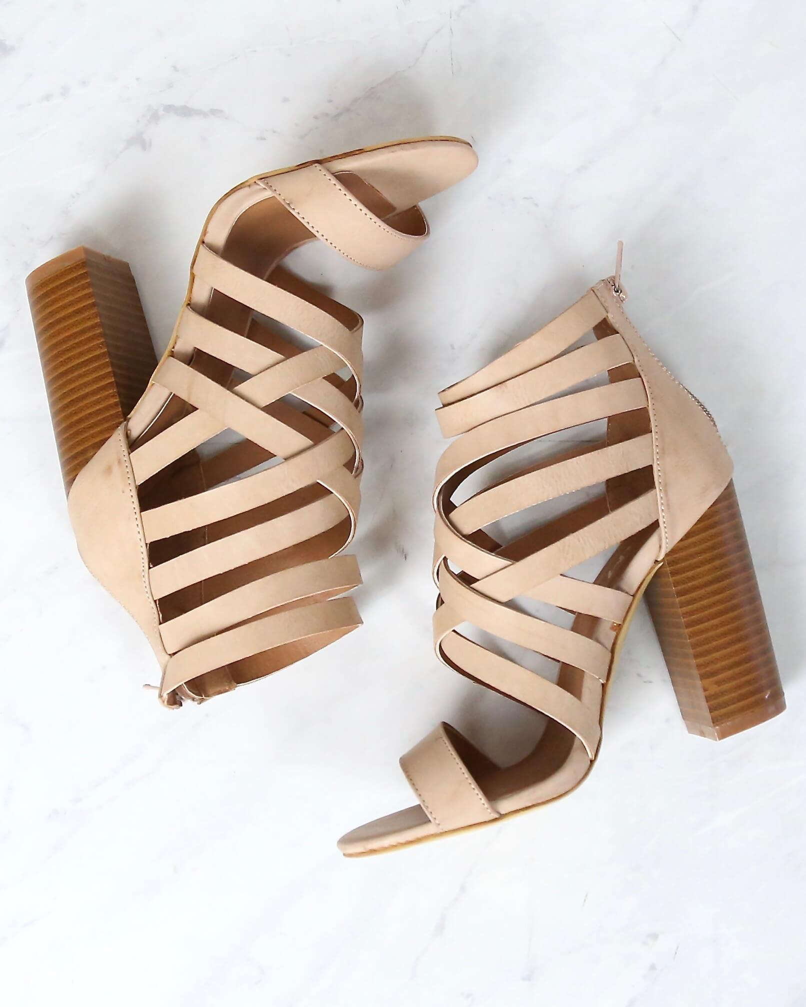 Image of Final Sale - Strappy Stacked Heel Sandals in Rose