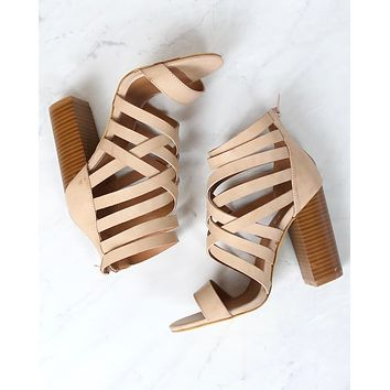 Final Sale - Strappy Stacked Heel Sandals in Rose