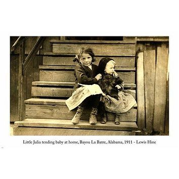 Lewis Hine LITTLE JULIA TENDING BABY AT HOME Photo Poster Alabama 24X36