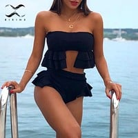 Bikinx Bandeau sexy swimsuit Push up black swimwear women bathers Ruffles high waist bikinis 2019 mujer bathing suit Summer swim