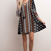 Ornate Border Print Tent Dress