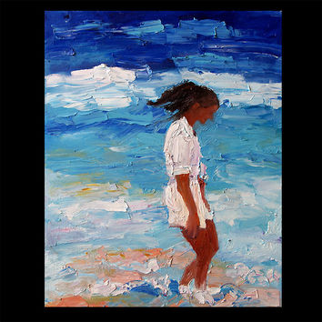 Ginette Self Portrait - Beach Looking for Seaglass Ocean Island Vacation Original Oil Painting