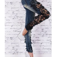 Fashion Ladies Cotton Denim Lace Pants Stretch Womens Bleach Ripped Skinny Jeans Denim Jeans For Female