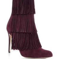 Toas Red Kidskin Fringed Boots
