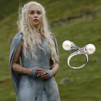 Game of Thrones Daenerys Targaryen Ring necklace Pearl White Gold Plated Vintage Cosplay pendant