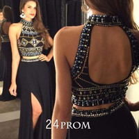 Black chiffon sequin 2 pieces long prom dress, evening dress
