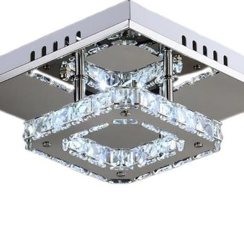 Square LED Crystal Chandelier Light for Aisle Porch Hallway Stairs wth LED Light Bulb 12W