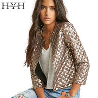 HYH HAOYIHUI 2016 Brand New Spring Style Vogue Lozenge Women Gold Sequins Jackets Three quater sleeve Fashion Coats Outwears