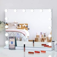 FENCHILIN Large Vanity Mirror with Lights and Bluetooth Speaker,Hollywood Lighted Makeup Mirror