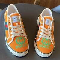 G GG Tennis 1977 Embroidered breathable casual sports shoes sneakers Orange