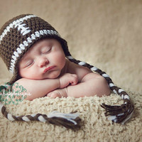 SAVE 15% Crochet #FOOTBALL Boy Girl Beanie hat. Crochet Winter Beanie ear flaps / #Baby Hat / Unisex Brown Photo Prop hat #BabyKDesigns