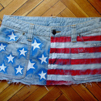 Ooak Mini Jeans Skirt Hand Painted Tattered Handmade Short with USA American Flag Size S By Cvetinka