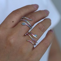 New gothic fashionable snake rings anillos mujer colorful cubic zirconia punk finger rings rock vintage animal jewelry for women