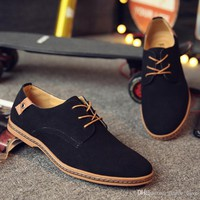Elegant Shoes Men Oxfords Dress Shoes Genuine Leather Cow Suede Plus Size Derby Prom Formal mocassin homm