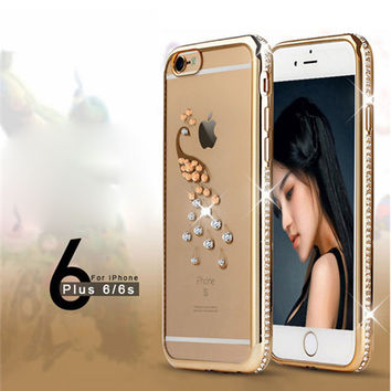 iPhone 6 6s case Electroplating Diamond cases for iphone 6 6s plus with Peacock Swan Pattern protective back cover bags