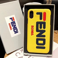 Fendi Fashion New Letter Print Women Men Leather Phone Case Protective Cover Yellow