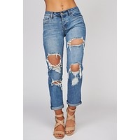 Hooked On You Distressed Button Up Jeans (Medium Wash)