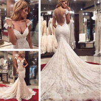 Lace Backless Wedding Dresses Deep V Neck Cap Sleeve Mermaid Bridal Gowns with Long Tail