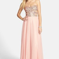 Junior Women's Morgan & Co. Embellished Cutout Sweetheart Bodice Strapless Gown