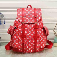 LV Louis Vuitton Trending Women Print Leather Bookbag Shoulder Bag Handbag Backpack Red I