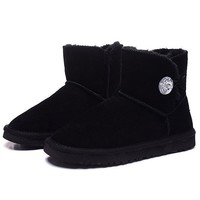 UGG Fashion Women Warm Winter Fur Flats Leather Boots Shoes