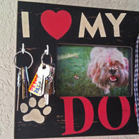 Non-Profit Pet Leash and Key Rack, Dog Lover Black and Red Decorative Frame Key Holder- Stand & Wall Mount
