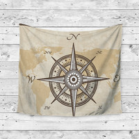 Compass North East South West World Gypsy Unique Dorm Home Decor Wall Art Tapestry