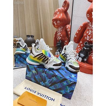 2021 LV Louis Vuitton Men's and women Leather HIGH Top Sneakers Shoes WHITE