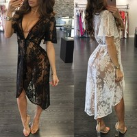 Summer Beach Smock Dress Women Sexy Black White Lace Floral Dresses Deep V-neck See Through