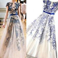 New Organza Embroidery Blue White Sheer Long Maxi, Evening Formal Prom Dress, Bridesmaids Dress,  NEW FOR Autumn/Spring 2015 On Sale