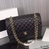 New CHANE SIZE  33X22X10cm Double C Women Leather silver and gold on Chain cross body bag Chane vintage Chanl jumbo   Fashion Handbag Neverfull Tote Shoulder Bag Wallet Messenger Bags