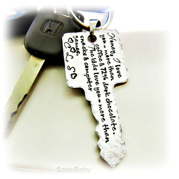 Personalized Mens Keychain, Dad, Grandpa, Boyfriend, Fiance, Key to my Heart, Customized up to 110 character spaces