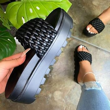 Women's 2021 new square toe flat shoes slippers sandals shoes