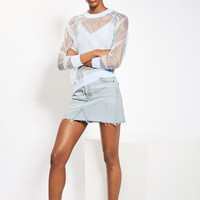 MOTO Bleach Denim Mini Skirt